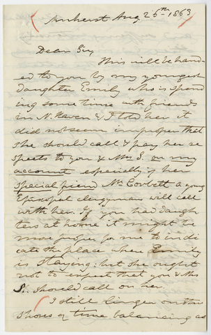 Edward Hitchcock letter to Benjamin Silliman, 1863 August 26