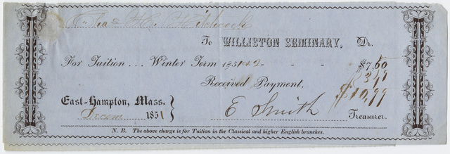 Edward Hitchcock receipt of payment to Williston Seminary, 1851 December