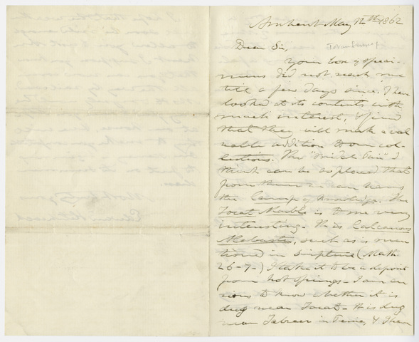 Edward Hitchcock letter to Henry J. Van-Lennep, 1862 May 12