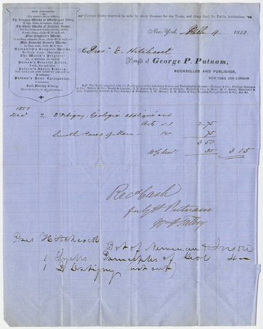 Edward Hitchcock receipt of payment to G. P. Putnam & Co., 1852 March 4