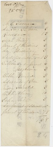 Edward Hitchcock receipt for the Amherst Post Office, 1859