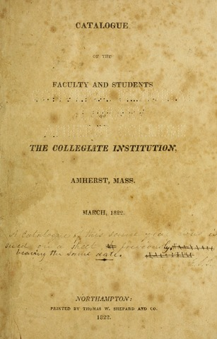 Amherst College Catalog 1821/1822