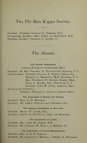 Amherst College Catalog 1895/1896