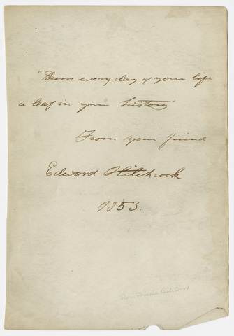 Edward Hitchcock signature, 1853