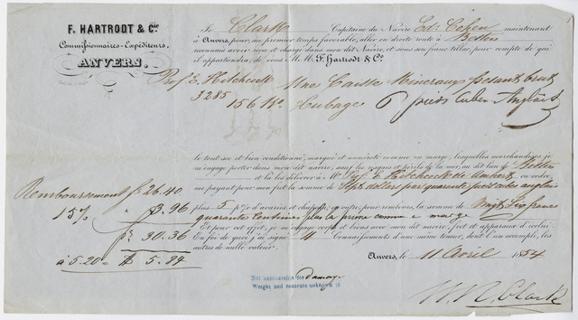 Edward Hitchcock receipt of shipment by F. Hartrodt and Co., 1854 April 11