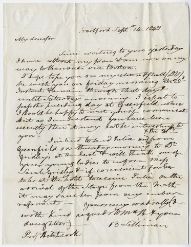 Benjamin Silliman letter to Edward Hitchcock, 1843 September 14