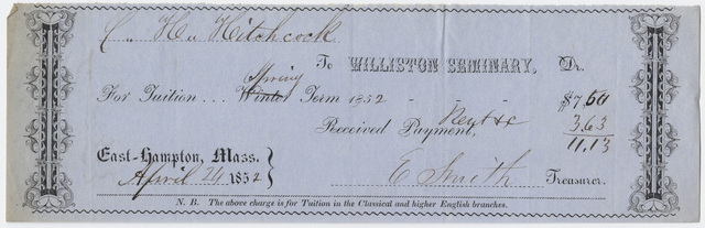 Edward Hitchcock receipt of payment to Williston Seminary, 1852 April 24