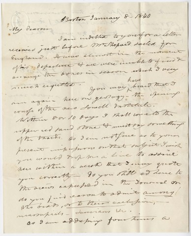 Benjamin Silliman letter to Edward Hitchcock, 1840 January 8