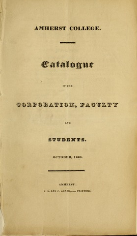Amherst College Catalog 1830/1831