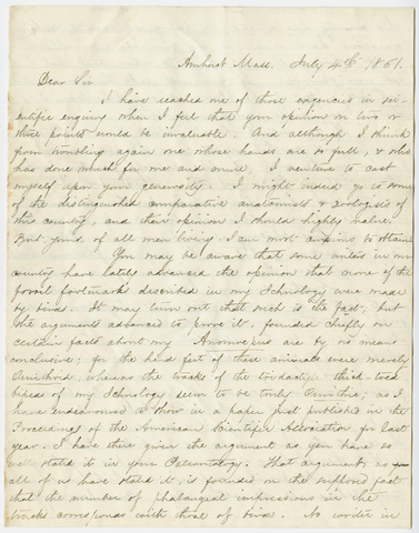Edward Hitchcock letter to Richard Owen, 1861 July 4