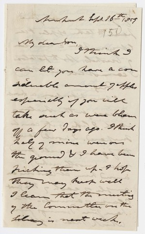 Edward Hitchcock letter to Edward Hitchcock, Jr., 1859 September 16