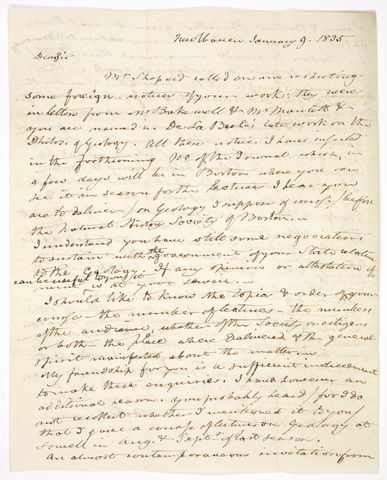 Benjamin Silliman letter to Edward Hitchcock, 1835 January 9