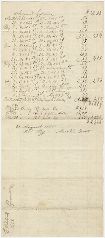 Edward Hitchcock receipt of payment to Austin Grout, 1845 August 13