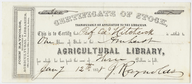 Edward Hitchcock stock certificate of the Amherst Agricultural Library