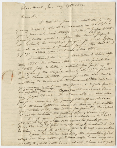 Edward Hitchcock letter to Benjamin Silliman, 1832 January 19