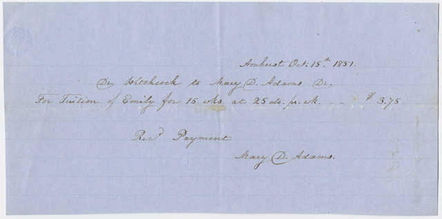 Edward Hitchcock receipt of payment to Mary D. Adams, 1851 October 15