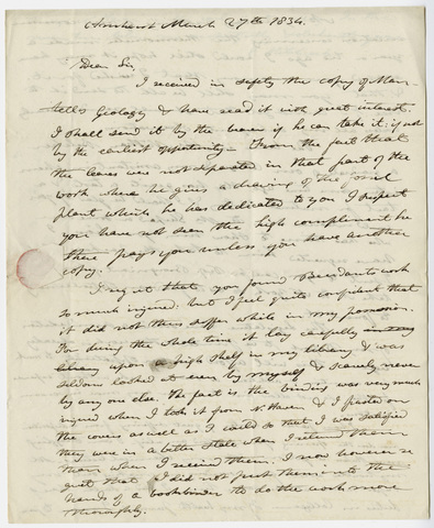 Edward Hitchcock letter to Benjamin Silliman, 1834 March 27