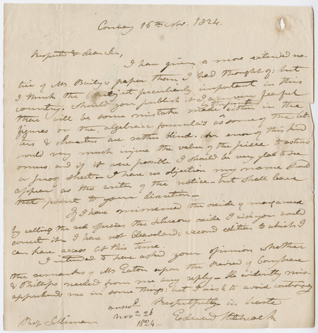 Edward Hitchcock letter to Benjamin Silliman, 1824 November 16