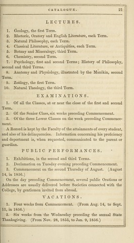 Amherst College Catalog 1855/1856