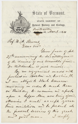 Albert David Hager letter to William Augustus Stearns, 1864 March 1