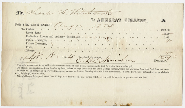 Edward Hitchcock receipt of payment to Amherst College, 1854 September 18
