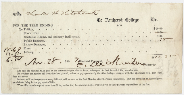 Edward Hitchcock receipt of payment to Amherst College, 1853 November 28