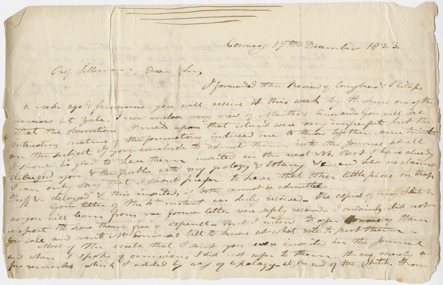Edward Hitchcock letter to Benjamin Silliman, 1823 December 17