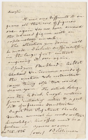 Benjamin Silliman letter to Edward Hitchcock, 1835 December 25