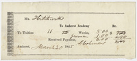 Edward Hitchcock receipt of payment to Amherst Academy, 1845 March 20