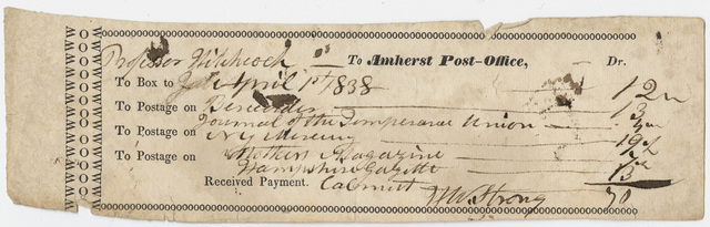 Edward Hitchcock invoice for the Amherst Post Office, 1838 April 1