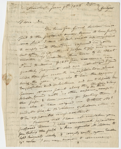 Edward Hitchcock letter to Governor William L. Marcy, 1836 June 9