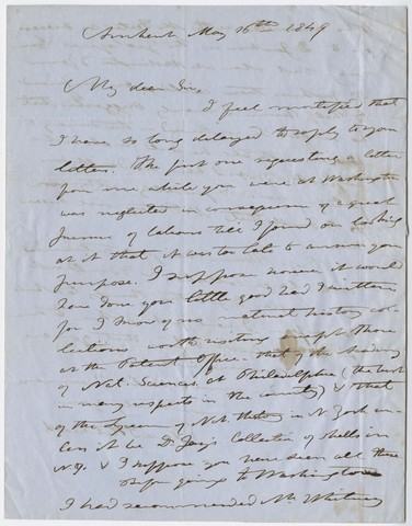 Edward Hitchcock letter to James T. Ames, 1849 May 16