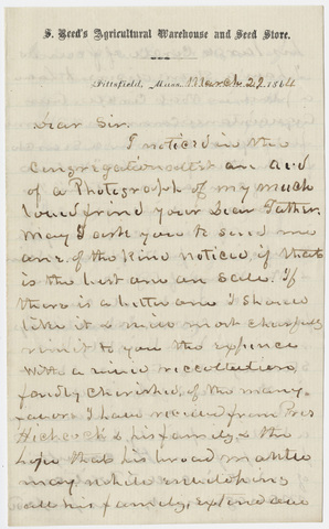 Stephen Reed letter to Edward Hitchcock, Jr., 1864 March 29