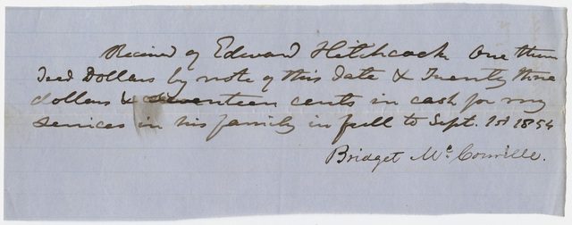 Edward Hitchcock receipt of payment to Bridget McConville, 1854 September 1