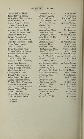 Amherst College Catalog 1898/1899