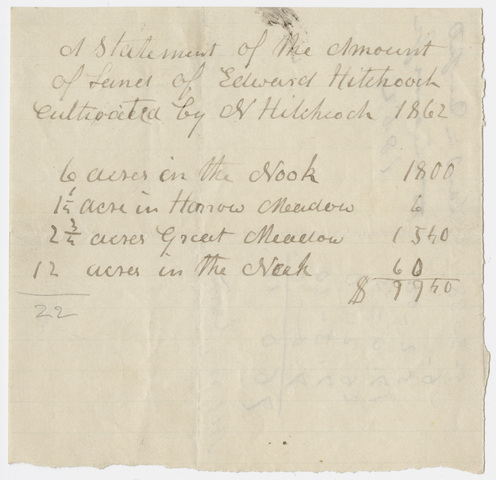 Edward Hitchcock statement of land cultivated by N. Hitchcock