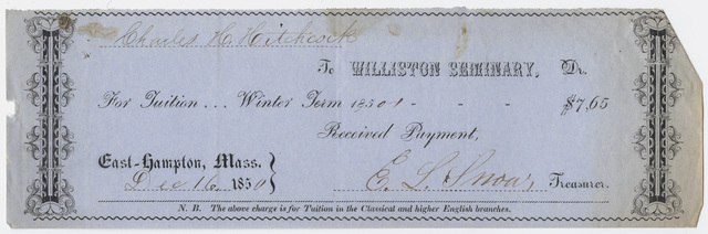 Edward Hitchcock receipt of payment to Williston Seminary, 1850 December 16