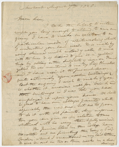 Edward Hitchcock letter to Benjamin Silliman, 1828 August 7