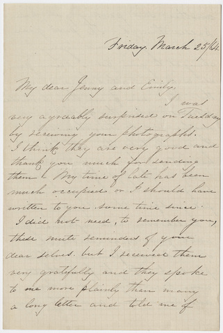 Josey M. Allen letter to Jane Hitchcock Putnam and Emily Hitchcock Terry, 1864 March 25