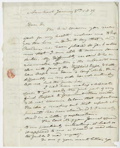 Edward Hitchcock letter to Benjamin Silliman, 1839 January 8
