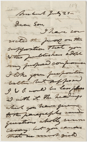 Edward Hitchcock letter to Edward Hitchcock, Jr., 1859 July 21