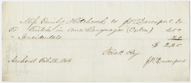 Edward Hitchcock receipt of payment to Jesse Reed Davenport, 1854 February 28