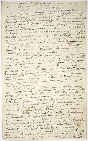 Edward Hitchcock copy of a letter to Benjamin Silliman, 1837 March 12