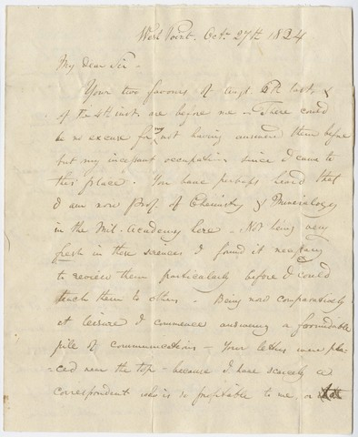 John Torrey letter to Edward Hitchcock, 1824 October 27