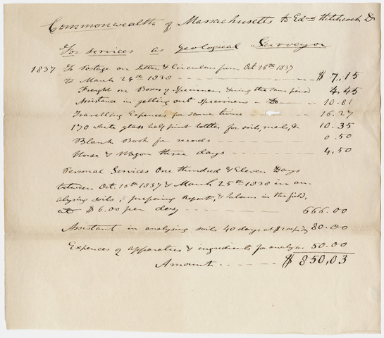 Edward Hitchcock geological survey expense account, 1837 October 16 to 1838 March 25