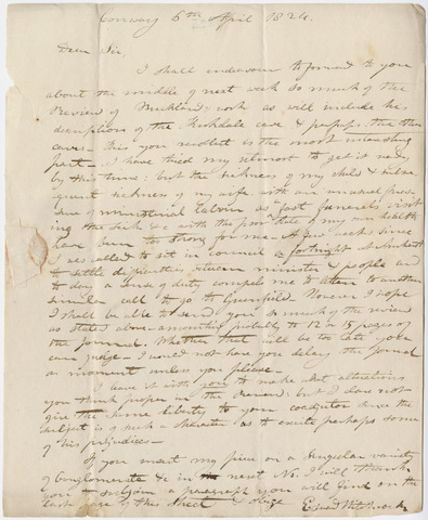 Edward Hitchcock letter to Benjamin Silliman, 1824 April 6