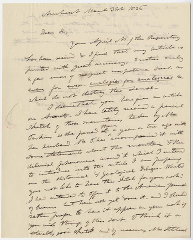 Edward Hitchcock letter to Bela B. Edwards, 1836 March 31