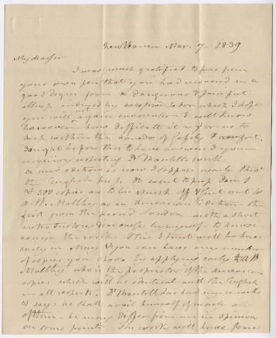 Benjamin Silliman letter to Edward Hitchcock, 1839 March 7