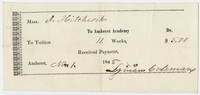 Edward Hitchcock receipt of payment to Amherst Academy, 1845 November 1