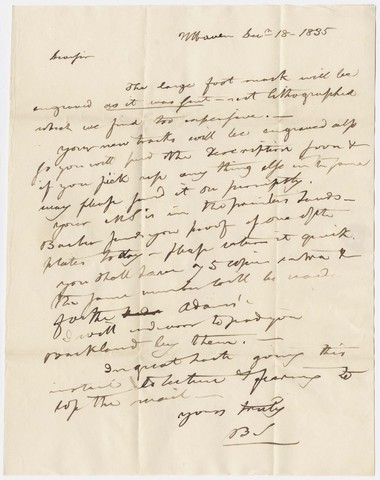 Benjamin Silliman letter to Edward Hitchcock, 1835 December 18